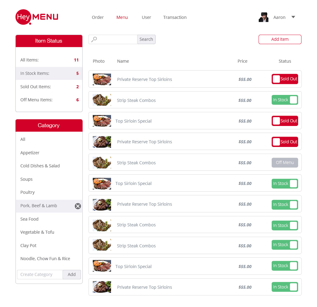 Dish Item List Screenshot